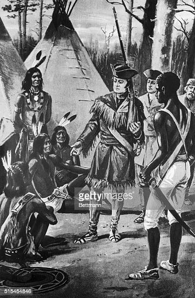 Lewis and Clark among the Mandans The leaders of the expedition holding friendly council with the Indians and distribute presents to win their good...