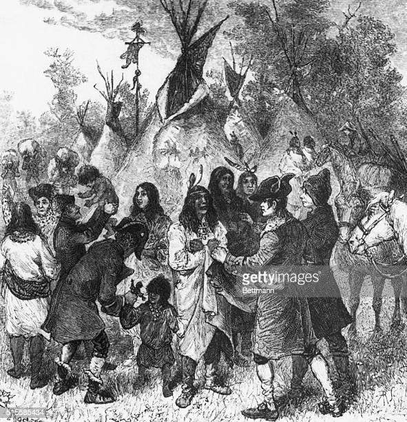 Lewis and Clark on expedition meet with Native Americans