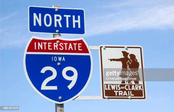 Lewis and Clark Trail marker on North Interstate 29 Iowa USA sign signpost direction marker travel