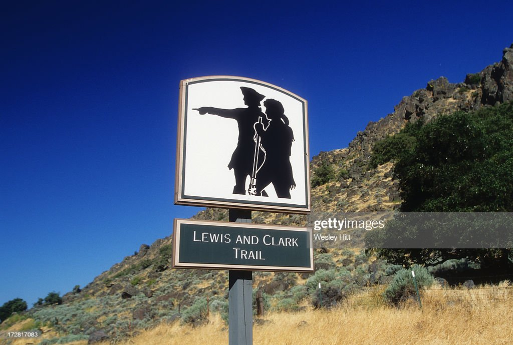 Lewis and Clark Trail road sign : Stock Photo