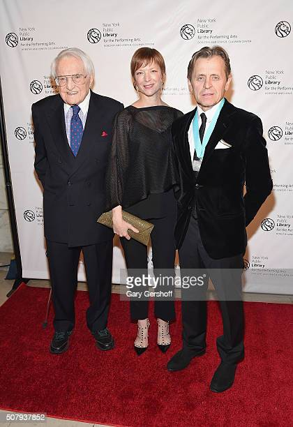 Lewis B Cullman Lisa Rinehart and event honoree Mikhail Baryshnikov attend the New York Public Library For The Performing Arts' 50th Anniversary gala...