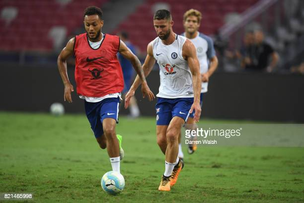 Lewis Baker and Gary Cahill of Chelsea during a training session at Singapore National Stadium on July 24 2017 in Singapore