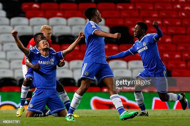 Lewis Baker of Chelsea celebrates at the final whistle with team mates during the Barclays Under21 Premier League Final match between Manchester...
