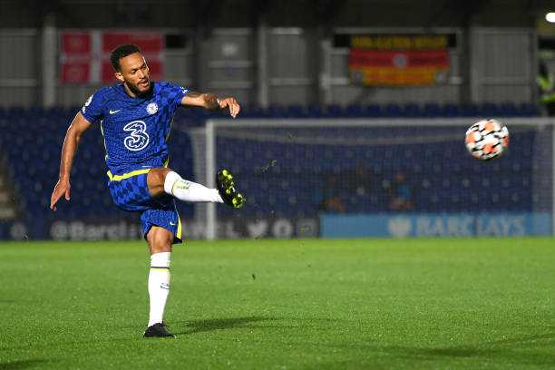 Lewis Baker of Chelsea during the Premier League 2 match between Chelsea and Liverpool on September 24, 2021 in Kingston upon Thames, England.