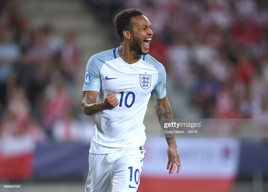 Lewis Baker of England celebrates after scoring his side's third goal during their UEFA European Under-21 Championship 2017 match between England and Poland on June 22, 2017 in Kielce, Poland.