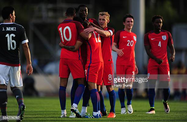 Lewis Baker of England celebrates his side's first goal during the Toulon Tournament match between Paraguay and England at Stade Antoinr Baptiste on...