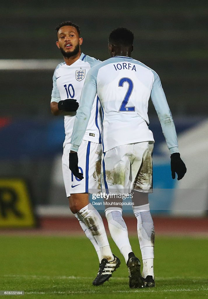 Lewis Baker of England U21 (10) celebrates with team mate Dominic Iorfa (2) as he scores their second goal during the U21 international friendly match between France and England at Stade Robert Bobin on November 14, 2016 in Paris, France.