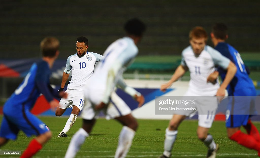Lewis Baker of England U21 (10) scores their second goal from a free kick during the U21 international friendly match between France and England at Stade Robert Bobin on November 14, 2016 in Paris, France.