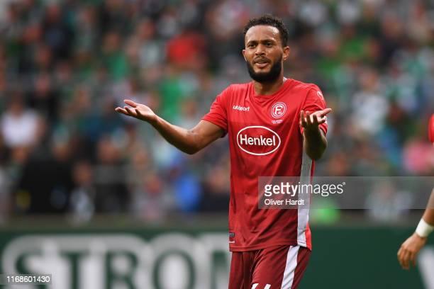 Lewis Baker of Fortuna Duesseldorf reacts during the Bundesliga match between SV Werder Bremen and Fortuna Duesseldorf at Wohninvest Weserstadion on...