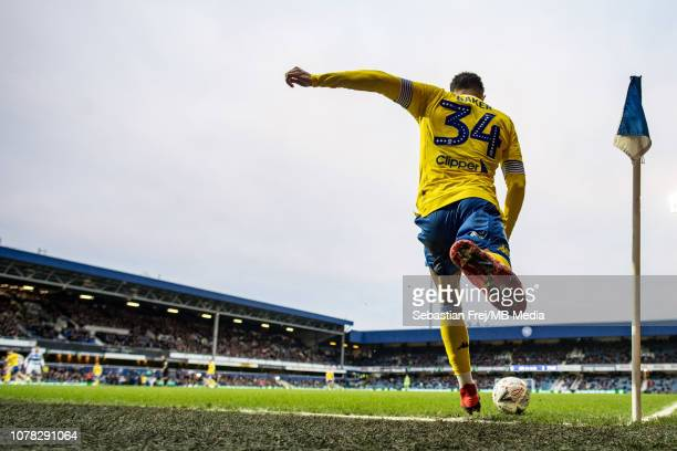 Lewis Baker of Leeds United take corner kick during the FA Cup Third Round match between Queens Park Rangers and Leeds United at Loftus Road on...