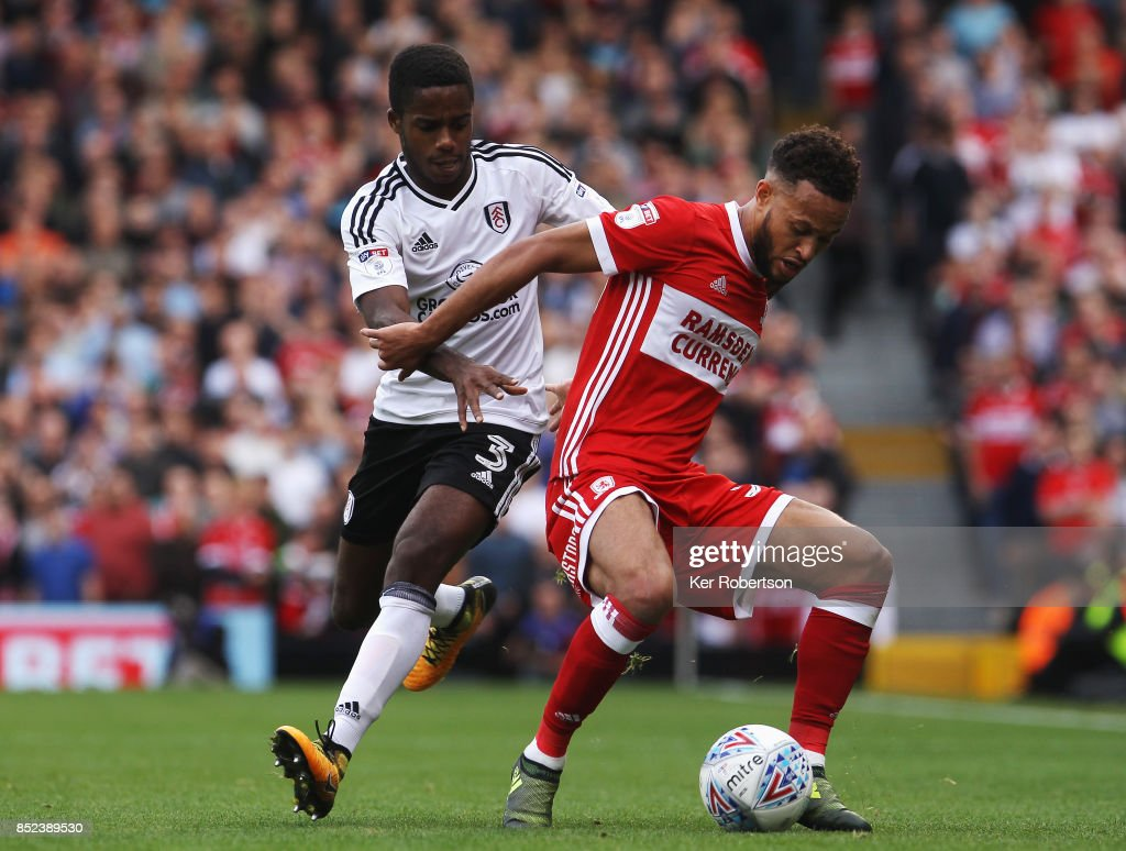 Lewis Baker of Middlesbrough holds off the challenge of Ryan Sessegnon of Fulham during the Sky Bet Championship match between Fulham and Middlesbrough at Craven Cottage on September 23, 2017 in London, England.