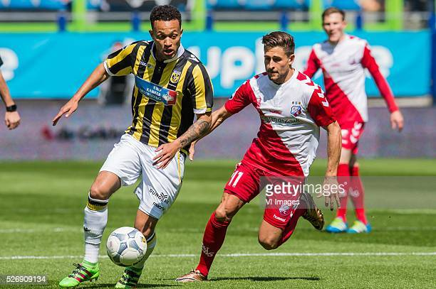 Lewis Baker of Vitesse Andreas Ludwig of FC Utrecht during the Dutch Eredivisie match between Vitesse Arnhem and FC Utrecht at Gelredome on May 01...