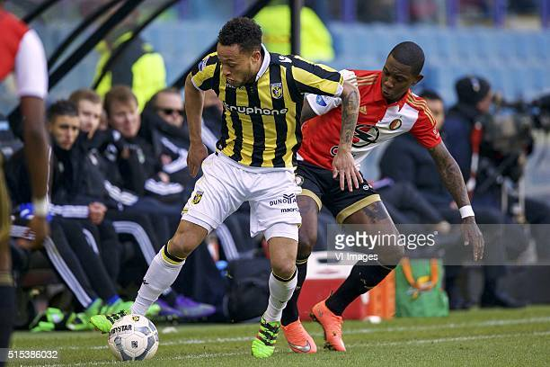 Lewis Baker of Vitesse Eljero Elia of Feyenoord during the Dutch Eredivisie match between Vitesse and Feyenoord at the Gelredome stadium on march 13...