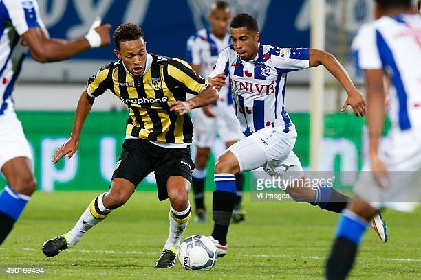Lewis Baker of Vitesse Pele van Anholt of sc Heerenveen during the Dutch Eredivisie match between sc Heerenveen and Vitesse Arnhem at Abe Lenstra...