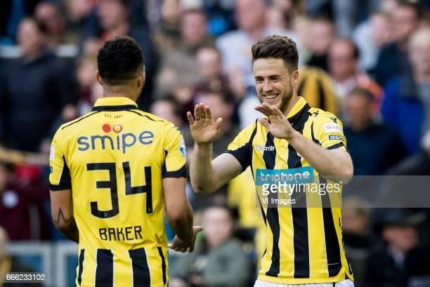 Lewis Baker of Vitesse Ricky van Wolfswinkel of Vitesseduring the Dutch Eredivisie match between Vitesse Arnhem and sc Heerenveen at Gelredome on...