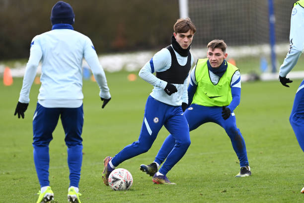 Lewis Bate and Billy Gilmour of Chelsea during a training session at Chelsea Training Ground on February 10, 2021 in Cobham, England.