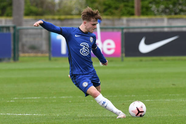 Lewis Bate of Chelsea during the U18 Premier League match between Chelsea and Fulham at Chelsea Training Ground on May 15, 2021 in Cobham, England.