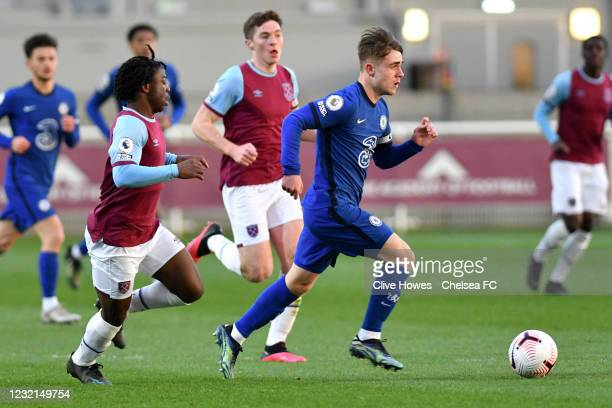 Lewis Bate of Chelsea during the West Ham United v Chelsea - Premier League 2 match at Rush Green on April 6, 2021 in Romford, England.