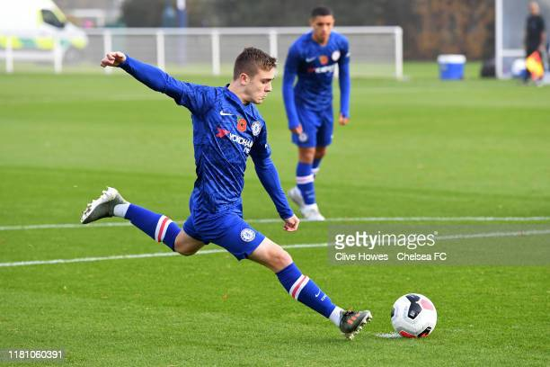 Lewis Bate of Chelsea scores the first goal from the penalty spot during the Tottenham Hotspur v Chelsea FC Premier League U18 match at Tottenham...