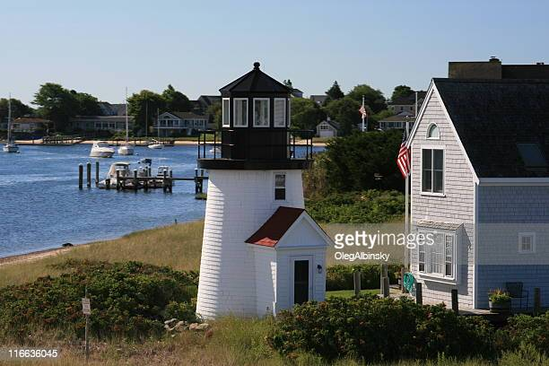 lewis bay lighthouse, hyannis, cape cod, massachusetts, new england. - hyannis port stock pictures, royalty-free photos & images