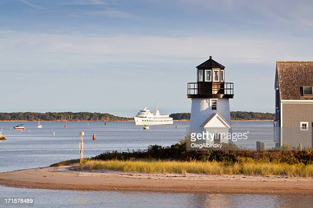 lewis bay lighthouse, hyannis, cape cod, massachusetts, usa. - hyannis port stock pictures, royalty-free photos & images