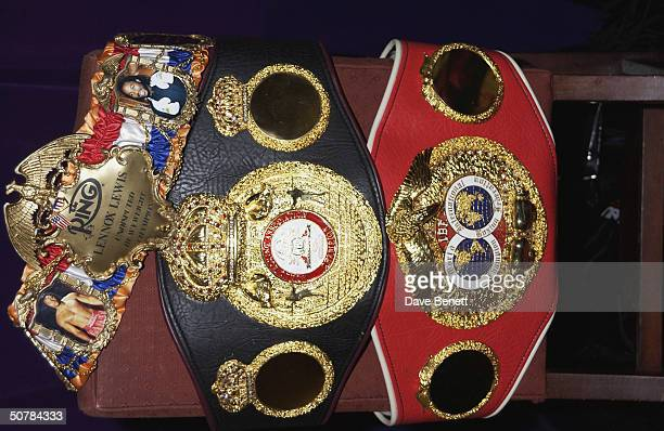 Lewis' belts at a party thrown by Lennox Lewis to celebrate the defense of his World Heavyweight Boxing Champion title and his recent CBE held at the...