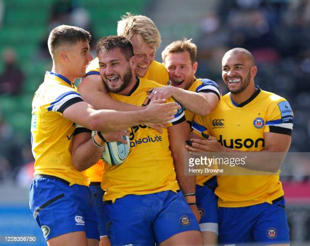 Lewis Boyce of Bath Rugby celebrates with team mates after scoring his sides fourth try during the Gallagher Premiership Rugby match between...