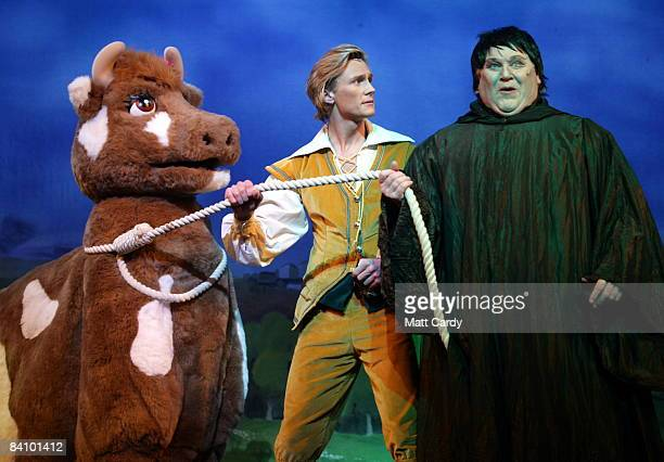 Lewis Bradley as Jack and Colin Baker as Fleshcreep perform during the traditional pantomime Jack and the Beanstalk on stage at the Theatre Royal...