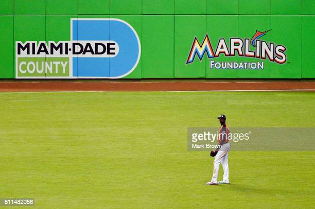 Lewis Brinson of the Milwaukee Brewers and the US Team looks on against the World Team during the SiriusXM AllStar Futures Game at Marlins Park on...