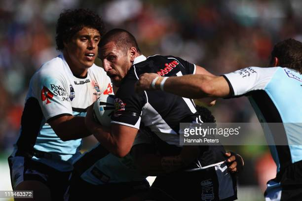Lewis Brown of the Warriors charges forward during the round four NRL match between the Cronulla Sharks and the Warriors at Owen Delany Park on April...