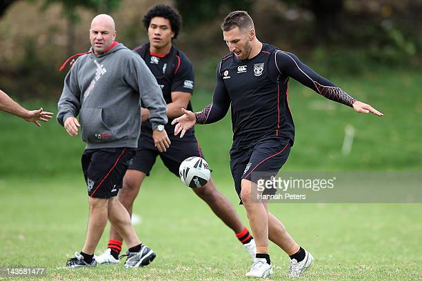 Lewis Brown runs through drills during a New Zealand Warriors NRL training session at Otahuhu College on April 30 2012 in Auckland New Zealand
