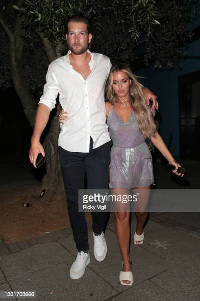 Lewis Burton and Lottie Tomlinson seen leaving Laylow at 2am after celebrating Lottie's Birthday with friends on August 01, 2021 in London, England.