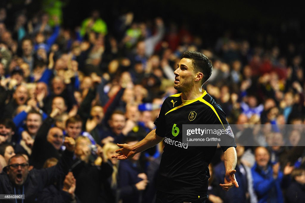 Lewis Buxton of Sheffield Wednesday celebrates scoring the second goal during the Sky Bet Championship match between Nottingham Forest and Sheffield Wednesday at City Ground on April 8, 2014 in Nottingham, England.