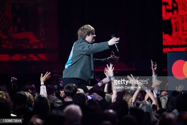 Lewis Capaldi accepts the Song of the Year Award during The BRIT Awards 2020 at The O2 Arena on February 18 2020 in London England
