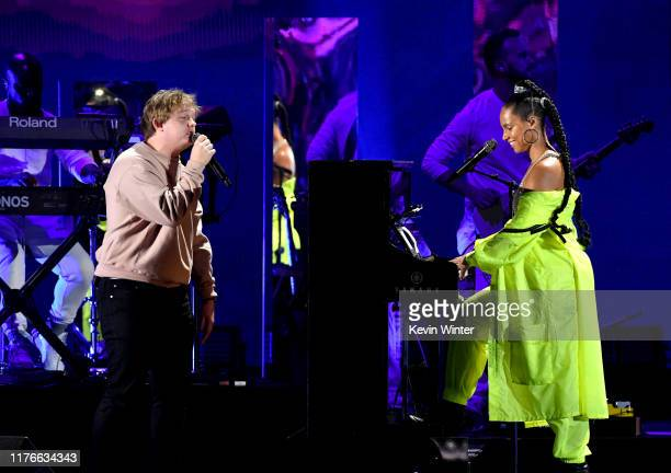 Lewis Capaldi and Alicia Keys perform onstage during the 2019 iHeartRadio Music Festival at TMobile Arena on September 21 2019 in Las Vegas Nevada