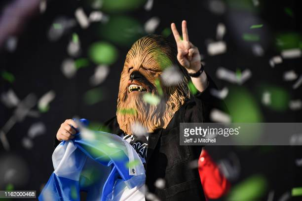 Lewis Capaldi comes on stage wearing a Chewbacca mask to perform on the main stage during the TRNSMT Festival at Glasgow Green on July 14 2019 in...