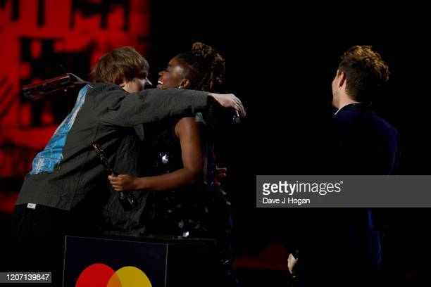 Lewis Capaldi is presented the Best New Artist Award by Clara Amfo and Niall Horan at The BRIT Awards 2020 at The O2 Arena on February 18 2020 in...