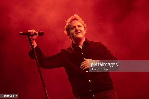 Lewis Capaldi performs on stage during Edinburgh Summer Sessions at Princes Street Gardens on August 13 2019 in Edinburgh Scotland