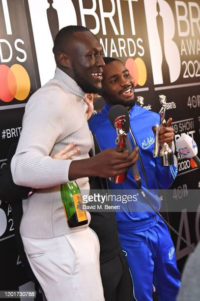 Lewis Capaldi winner of the Best New Artist and Song Of The Year awards Stormzy winner of the Male Solo Artist award and Dave winner of the...