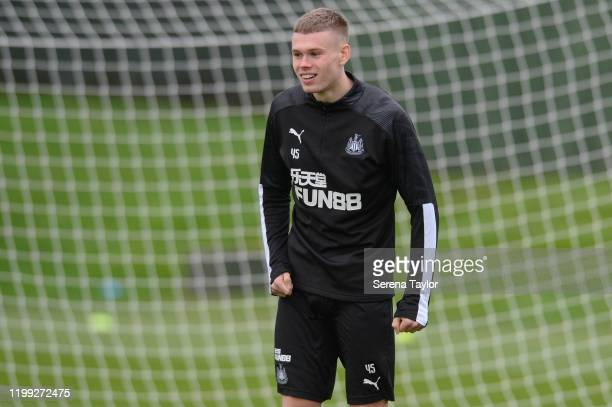 Lewis Cass smiles during the Newcastle United Training Session at the Newcastle United Training Centre on January 13 2020 in Newcastle upon Tyne...