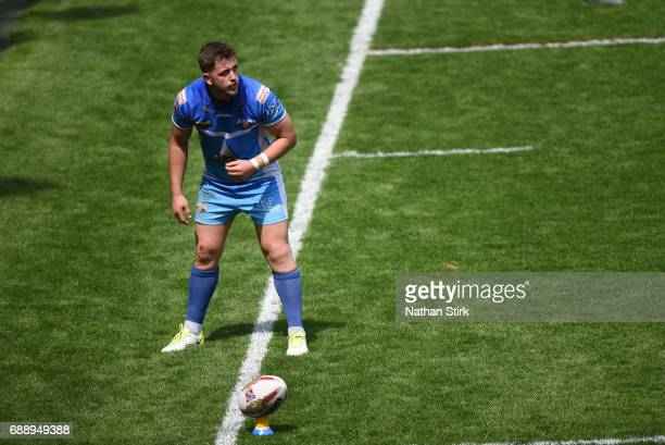 Lewis Charnock of Barrow Raiders prepares for a conversion during the Rugby League 1 Cup Final match between Barrow Raiders and North Wales at...