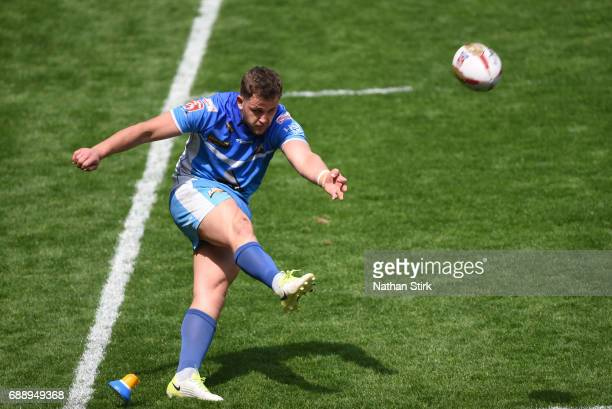 Lewis Charnock of Barrow Raiders takes a conversion during the Rugby League 1 Cup Final match between Barrow Raiders and North Wales at Bloomfield...