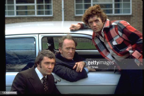 Lewis Collins, Gordon Jackson and Martin Shaw in character as William Bodie, George Cowley and Ray Doyle in action/adventure series The...
