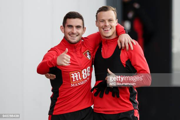Lewis Cook and Brad Smith of Bournemouth during training at Vitality Stadium on April 11 2018 in Bournemouth England