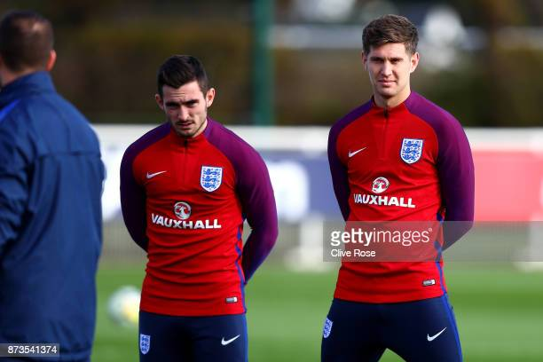 Lewis Cook and John Stones of England during an England training session ahead of the International Friendly match between England and Brazil on...