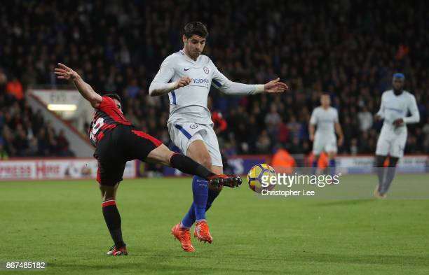 Lewis Cook of AFC Bournemouth and Alvaro Morata of Chelsea battle for possession during the Premier League match between AFC Bournemouth and Chelsea...