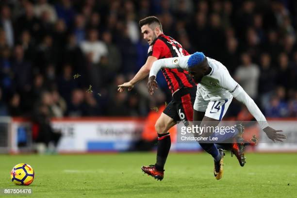 Lewis Cook of AFC Bournemouth and Tiemoue Bakayoko of Chelsea battle for possession during the Premier League match between AFC Bournemouth and...