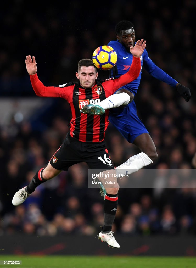 Lewis Cook of AFC Bournemouth battles for possesion with Tiemoue Bakayoko of Chelsea during the Premier League match between Chelsea and AFC Bournemouth at Stamford Bridge on January 31, 2018 in London, England.