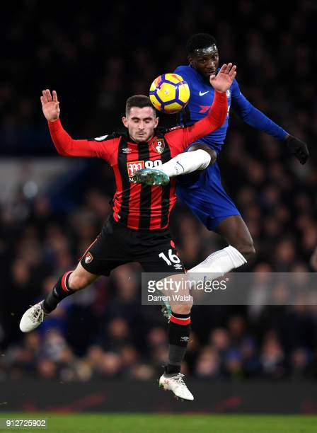 Lewis Cook of AFC Bournemouth battles for possesion with Tiemoue Bakayoko of Chelsea during the Premier League match between Chelsea and AFC...