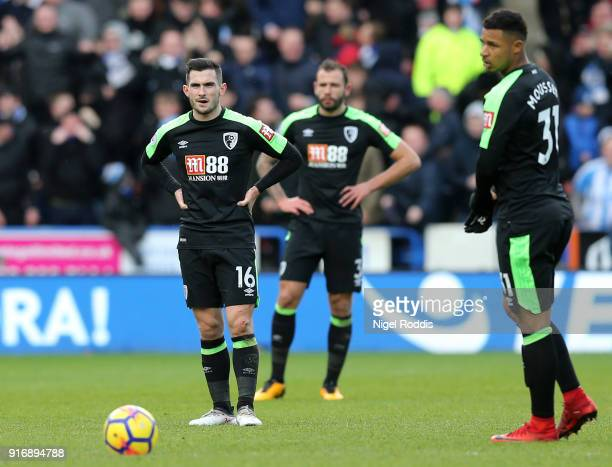 Lewis Cook of AFC Bournemouth looks dejected after Huddersfield Town score their third goal during the Premier League match between Huddersfield Town...